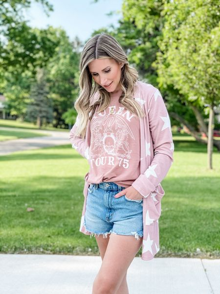 Queen graphic tee, high rise denim shorts, and the cutest lightweight sweater from Pink Lily.    http://liketk.it/3h8UF #LTKDay #LTKstyletip #LTKsalealert #liketkit @liketoknow.it