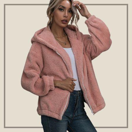 Zip up hooded teddy jacket  #LTKstyletip #LTKunder50