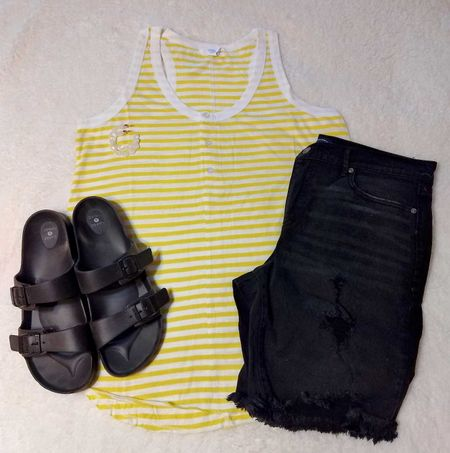 Black and yellow is one of my new favorite color combos. Remember, this tank is less than $15.  #LTKSeasonal #LTKstyletip #LTKunder50