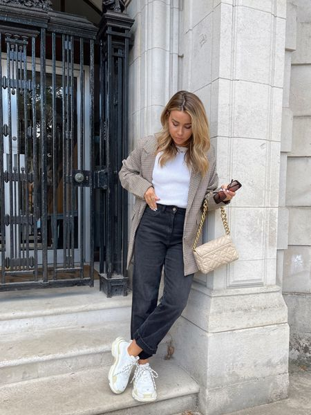 Autumn styling - teaming a check blazer with some asos collusion 90s straight leg jeans and balenciaga triple s chunky white trainers 💕  #LTKSeasonal #LTKunder50 #LTKeurope