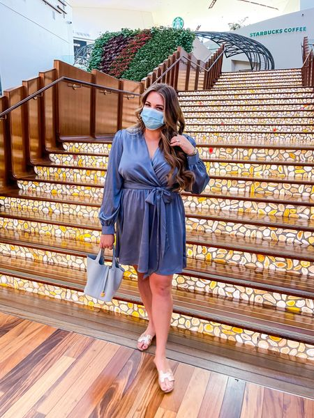 blue silky dress for fall! wearing size xl!   #LTKSeasonal #LTKcurves #LTKunder100