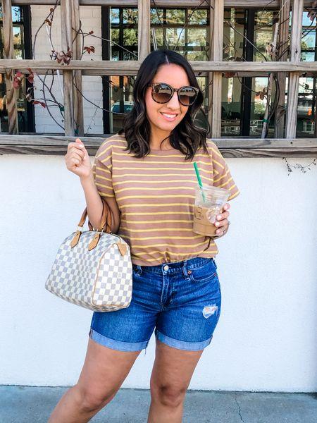 Madewell stripe t-shirt runs tts.  Jean shorts run tts.  Karen Walker sunglasses are 15% off with the ShopBop sale. Would make a really good gift/stocking stuffer for someone special    #LTKsalealert #LTKHoliday #LTKunder100