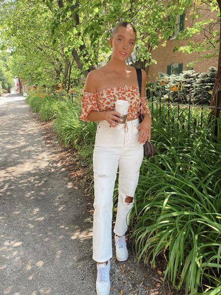 brunch Ootd, summer and spring style, outfit inspo, fashion, floral top, white jeans, sale, LV crossbody bag, Air Force 1 Nike white sneakers, weekend fashion, outfit idea, tan, summer beauty   #LTKstyletip #LTKunder50 #LTKSeasonal