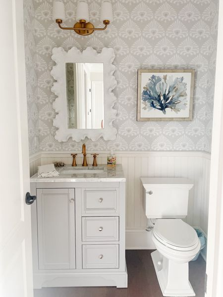 Powder bath renovation complete! Linked as many sources as I could here, some aren't linkable here but they are all on my blog!  #LTKhome