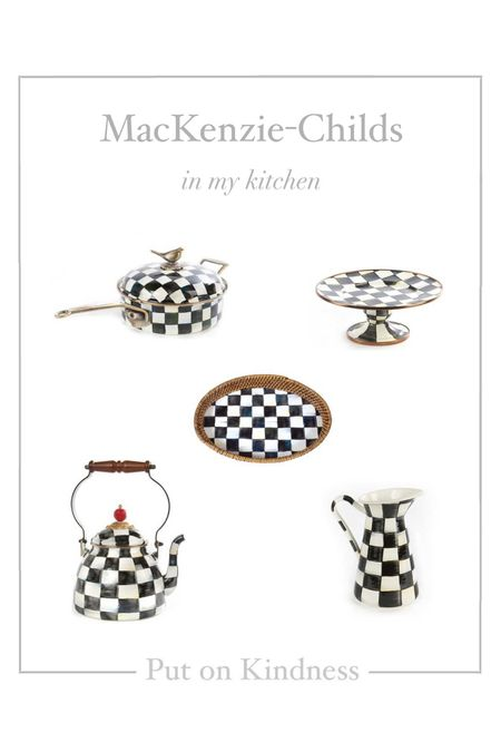 MacKenzie-Childs courtly check yea kettle. Rattan tray. Blank and white check pitcher. Halloween candy bowl dish.,  #LTKhome #LTKunder100 #LTKSeasonal