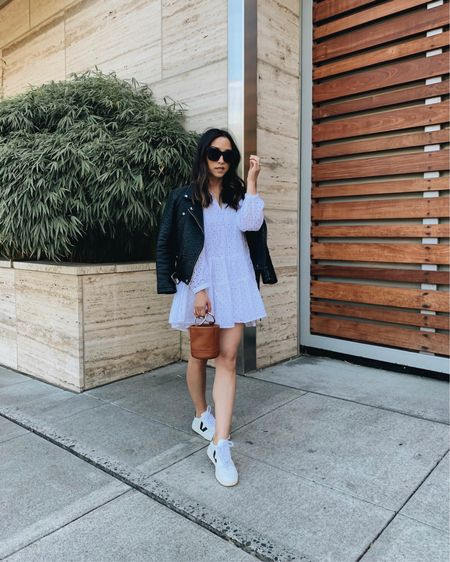 Little white dress. White dress with leather jacket. White dress paired with sneakers.   Dress - ASOS petite 0 (old) Jacket - Zara xs (old) Sneakers - Veja 35 Bag - Simon Miller   http://liketk.it/3eMTq #liketkit @liketoknow.it #LTKstyletip #LTKshoecrush #LTKitbag