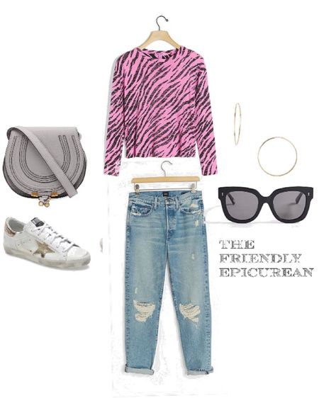 Love the relaxed look of this pretty pink animal print burnout tee and ripped denim. Great go to weekend casual outfit for late summer into fall. The pop of color with neutral accessories makes for a eye catching look. http://liketk.it/2VKa2 #liketkit @liketoknow.it Shop your screenshot of this pic with the LIKEtoKNOW.it shopping app