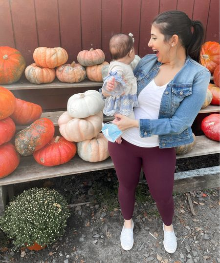 My favorite pumpkin in the patch! 🧡🧡🧡  Broke out all my staples this weekend - lululemon aligns, classic denim jacket and Keds slip-on sneakers. We spent some time at the farmer's market after our flu shots on Saturday (can you say adulting 😂🤦🏻♀️), and Sophia absolutely loved it. These poor pandemic babies are always perplexed when they see more than a few people at one time, but the heirloom pumpkins really excited her.   I've said it before, and I'll say it again, if you're pregnant or planning on being pregnant, get a pair of these leggings. Don't try to save and get the Amazon dupes. Invest in one pair and I promise, you will thank me. These miracle leggings took me from pre-baby to postpartum flawlessly. They're all I reach for these days too. This plum color is gorgeous for fall!   Shop my entire look via link in bio, on LTK or directly here 👉🏼  #LTKfamily #LTKkids #LTKbump