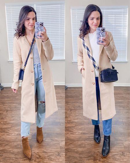Ways to wear a Dad camel coat (xs) // style with denim http://liketk.it/38G2l #liketkit @liketoknow.it #LTKstyletip