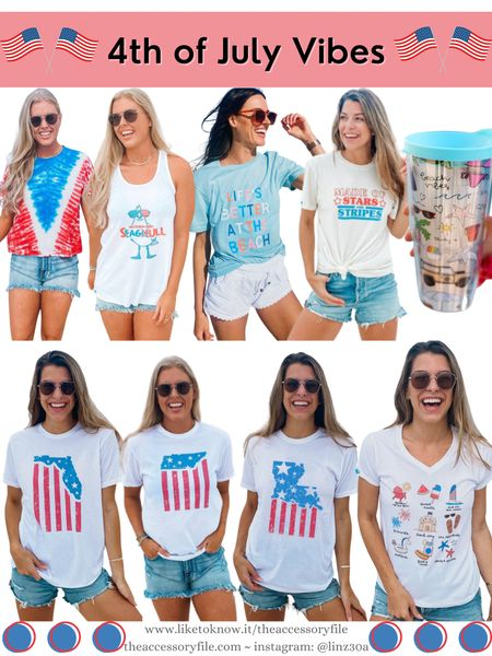 4th of July tees and tanks, patriotic shirts, red white and blue outfits, 4th of July looks, 4th of July outfits, beach vacation, 30A gear, American flag shirts    http://liketk.it/3hIk2 #liketkit @liketoknow.it #LTKtravel #LTKunder50 #LTKseasonal #LTKsummer