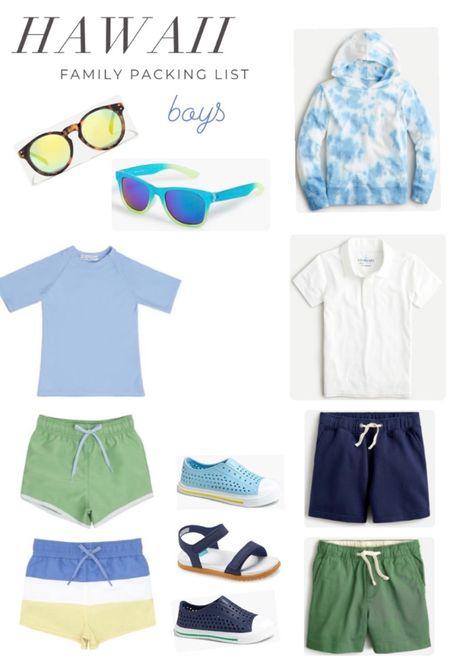 Boys Hawaii packing list. Swim trunks. Board shorts. Shorts. Polos. Tee shirts. Sunglasses. Sandals. Water shoes.  #LTKkids #LTKswim #LTKSeasonal
