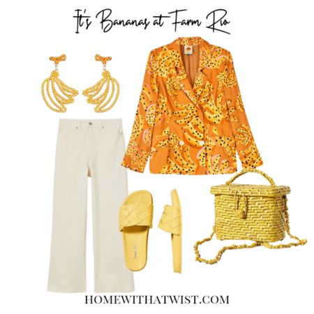 Such a cute Farm Rio banana blazer paired with white jeans, banana beaded earrings from Amazon, yellow slides and straw cross body bag. http://liketk.it/3kpTB @liketoknow.it #liketkit #LTKstyletip Download the LIKEtoKNOW.it app to shop this pic via screenshot