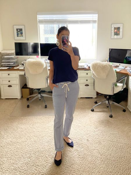 Spring outfit: Paige casual pants (runs large), Madewell Tee (true to size) and Rothys flats (runs small)  These are the best pants ever!   #LTKunder50 #LTKunder100 #LTKstyletip http://liketk.it/3ekFE #liketkit @liketoknow.it