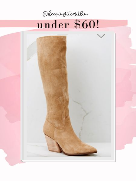 Vince Camuto boot dupe. Under $60 boots. Tan boots    #LTKunder100 #LTKstyletip #LTKshoecrush