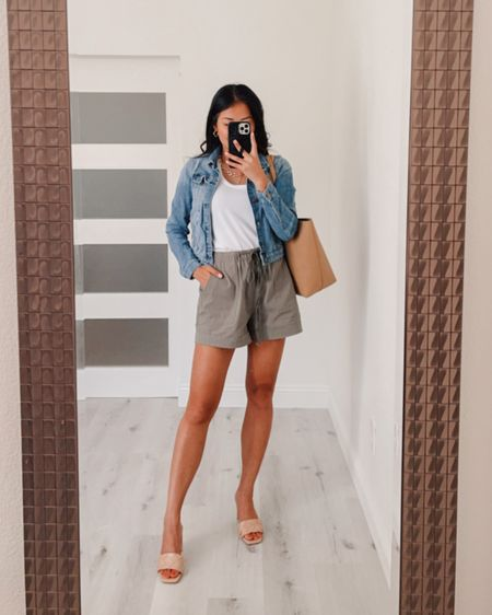 how to style khaki olive green shorts for the summer with a Denim jacket and low heels  Denim jacket linked similar Tank top wearing size small Shorts wearing size Medium Heels wearing size 7, but I could have done a 7.5  #LTKstyletip #LTKSeasonal #LTKunder100