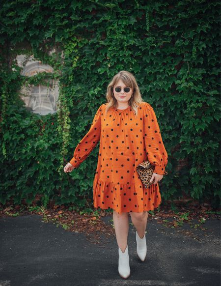 """Target pumpkin spice dress FTW 🙌 !!!! Shared this fit on the blog last Friday, the perfect fall dress for when you are in the autumn 🍂 """"mood"""" but the weather is🥵. I styled with a more is more concept, lots of jewelry an added print and statement boots. Sometimes you just need to give in to your accessories, it's fun!   #LTKunder50 #LTKcurves #LTKSeasonal"""