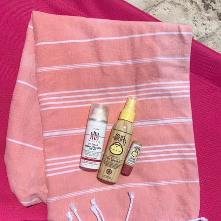 Beach day must haves              Tinted sunscreen  Lip balm  Leave in conditioner  Towel  Summer outfits  Beach outfit  Vacation outfit        #LTKSeasonal #LTKswim #LTKunder50