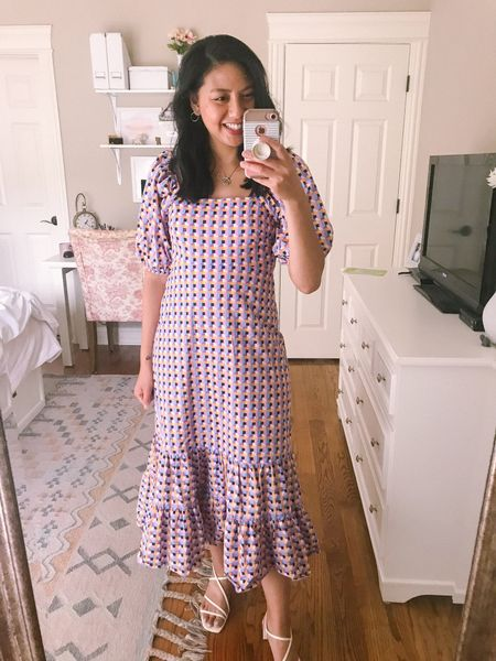 Wedding guest dress. It's a puff sleeve dress with ruffled hem. Runs big so I recommend sizing down. I normally wear size 4 (size small) and had to size down to sis 2. Perfect dress to wear to the wedding.    #LTKstyletip #LTKwedding