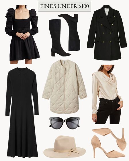 A few fall clothes and fall fashion staples under $100. The knit dress would be perfect for Thanksgiving dinner! I own and love the $15 sunglasses pictured. The double breasted coat at Target is a collaboration with designer Nili Lotan & may sell out quickly!  #cheapfallclothes #falloutfitinspo #fallclothes #fallfashion #falltrends