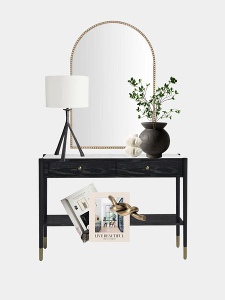 Entryway, foyer, console table, sideboard, decor, mirror, vase, lamp  #LTKstyletip #LTKhome #LTKfamily
