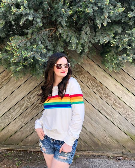 Got a pocket full of rainbows, and a heart full of love 🌈🎼 Had kind of a crummy day, but choosing to look for the rainbow beyond the clouds. It helps when my @sheinoffical sweater is so cute! Tagged it and all of my other 💙💚💛🧡❤️ favorites over on @liketoknow.it #liketkit http://liketk.it/2C6uA #LTKunder50