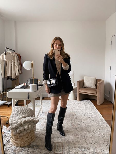 Fall mini skirt and to the knee boots outfit inspo - wearing a small in both the skirt and sweater   #LTKunder50 #LTKSeasonal #LTKunder100