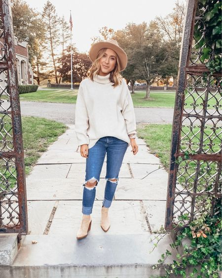 Is it even fall if you don't wear a hat and oversized sweater? Got this western hat for UNDER $20 - such a steal. Also, I have these ripped jeans and suede booties on repeat because they literally go with everything! Best investments I made in October for sure.   Shop all my looks in the LIKEtoKNOW.it app! Simply download the app, give me a follow or screenshot one of my IG pictures to shop! http://liketk.it/2G0KU #liketkit @liketoknow.it
