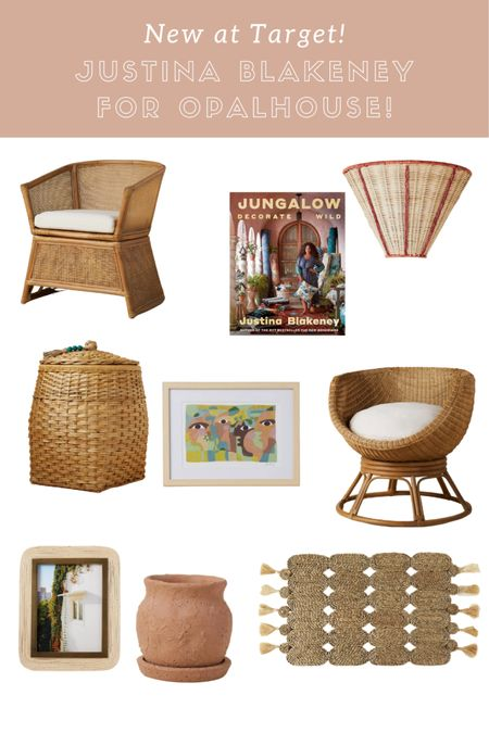 Justina Blakeney with Opalhouse- new at target! Beautiful, affordable rattan and woven furniture, accents, and art. Rattan chair, barrel chair, plug-in woven sconce, rattan sconce, jute matte, terra cotta vase   #LTKunder50 #LTKhome