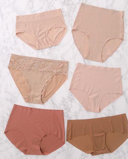 Best no-show undies // comfortable lightweight underwear   Row 1: Aerie Real Me Boy Briefs and Chantelle Soft Stretch High Waist Briefs (also in a lower rise)  Row 2: Soma Vanishing Edge hipsters and Everlane Invisible High-Rise Hipsters  Row 3: NEIWAI Barely-Zero Mid Waist Brief and Target Auden Laser Cut Hipsters  Full review of each pair is on the blog!  #petite  #LTKstyletip