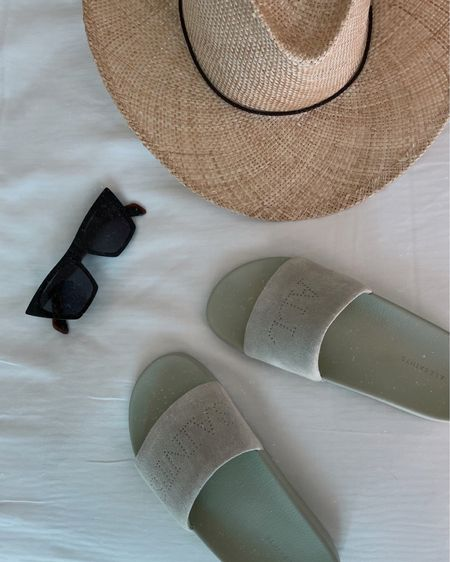 Comfiest slides for vacationing somewhere warm! These sunglasses are my favorite, I've been wearing them for years! They're on sale today and I linked a similar pair on Amazon! And I wear a small in the hat!! http://liketk.it/3bgEb #liketkit @liketoknow.it