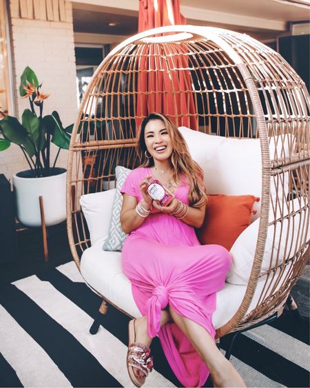 Summer outdoor patio  Egg chair and dupes Stripe rug  Amazon fashion maxi dress - XS / size down  Steve Madden Chain link tweed sandals - 5.5 / TTS   @liketoknow.it #liketkit http://liketk.it/3k1is #LTKhome #LTKunder50 #LTKtravel