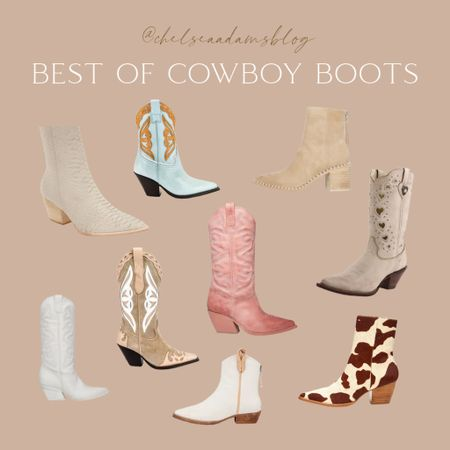 Best of cowboy boots!! LOVING this western boot trend fall shoe trends white cowboy boot Pink cowboy boot Blue cowboy boots booties Tan booties heart boots  Beige cowboy boots! 50% off today heart cowboy boots country concert outfit Fall booties amazon finds back to school outfit Transitional outfit concert outfit  Follow my shop on the @shop.LTK app to shop this post and get my exclusive app-only content!  #liketkit #LTKunder100 #LTKunder50 #LTKshoecrush @shop.ltk http://liketk.it/3mruV  #LTKsalealert #LTKshoecrush #LTKunder50