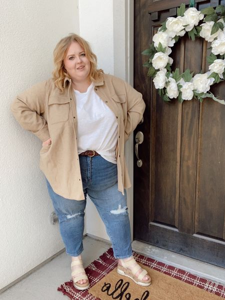 Non-skinny jeans ✅ White tee, tucked ✅ Shacket ✅ Middle part ✅ Really going all in on trends with this one, but I'm ok with that.  http://liketk.it/3aO9A #liketkit @liketoknow.it #LTKcurves #LTKunder50