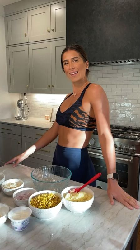 Fire roasted corn salad recipe on reels and activewear outfit  #LTKfamily #LTKhome #LTKfit