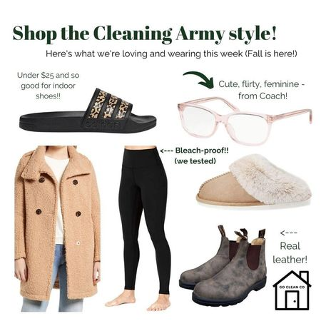 As seen on the #cleaningarmy this week - temps are dropping and here's what we're wearing #gocleanco #bleachpraylove #fallfashionfinds  #LTKstyletip #LTKunder50 #LTKfit