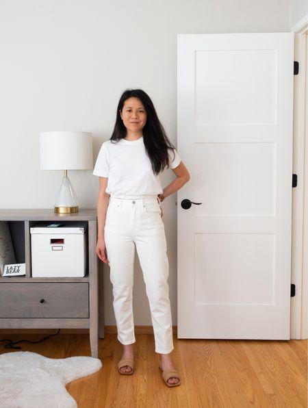 Summer whites ☀️ Aritzia cropped tee secondhand from Poshmark, Everlane cheeky jeans, and puffy sandals.  #LTKSeasonal #LTKunder100 #LTKshoecrush