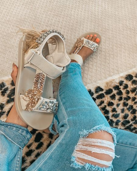 My favorite new purchase! These bedazzled sandals are a must for me. They are a little pricey so I linked some others under $25! http://liketk.it/3hPjV #liketkit @liketoknow.it #LTKshoecrush #LTKunder50