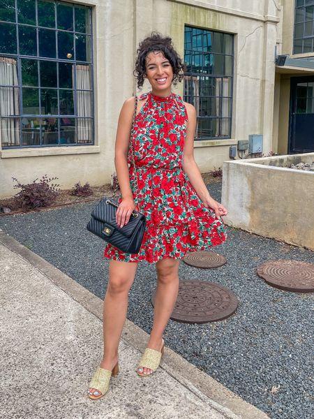 Red floral dress black quilted purse   #LTKunder50 #LTKunder100 #LTKitbag
