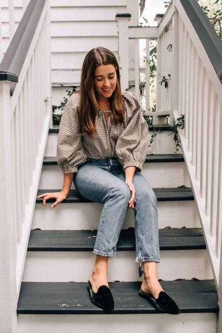 Plaid blouse, favorite jeans, velvet mules 🙌🏻 #fallstyle #plaid #thanksgivingoutfit
