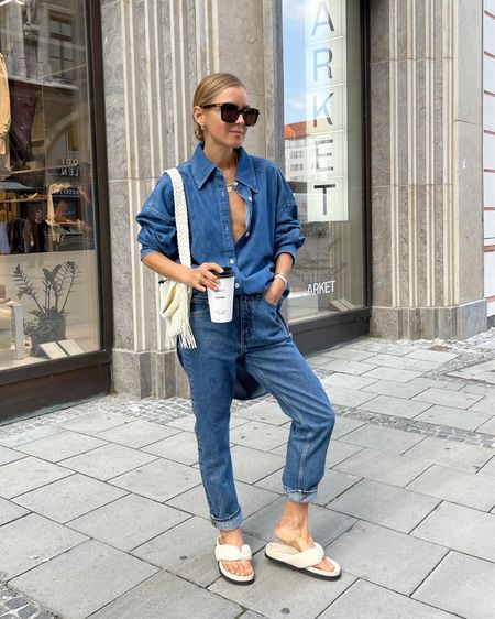 The denim look #denimlook #denimjeans #jeans #blueshirt #bluetrousers #denimlook #arket #newinarket #arketshoes   #LTKSeasonal #LTKunder50 #LTKunder100