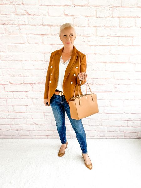 Blazer Look / Work Blazer / Workwear / Work Wear / Office Look / Office Outfit / Business Casual / Office Casual / Work Outfit / Tory Burch / Kate Spade /  Coach Handbags / Handbag /petite / over 40 / over 50 / over 60 / Fall Outfit / Fall Fashion    #LTKSeasonal #LTKworkwear #LTKitbag