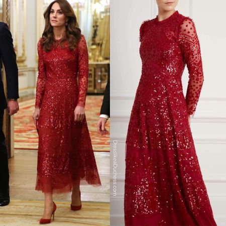 Kate Middleton in Needle & Thread Aurora Sequin Midi Gown + Gianvito Rossi 105 red suede pumps http://liketk.it/2JmxD #liketkit @liketoknow.it