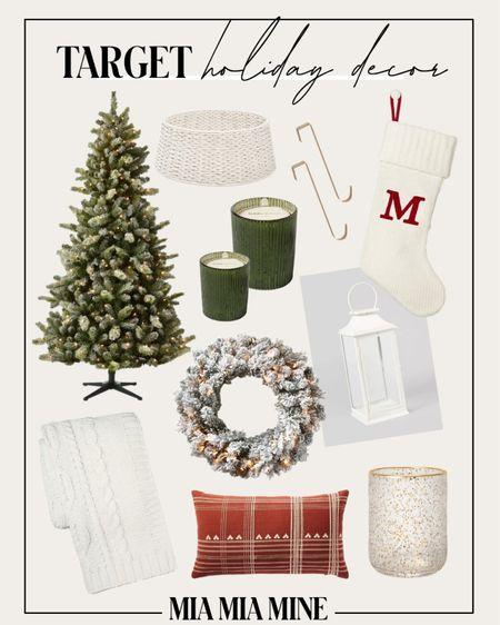 Target Christmas decor - Flocked Christmas tree, knit stockings  Holiday decor under $100 Target flocked wreath   #LTKHoliday #LTKunder100