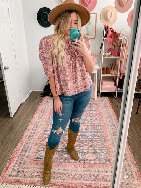 Pink paisley puff sleeve blouse 20% off this week, distressed skinny jeans, cowboy boots, boho outfit, fall outfit   #LTKSeasonal #LTKunder50 #LTKsalealert