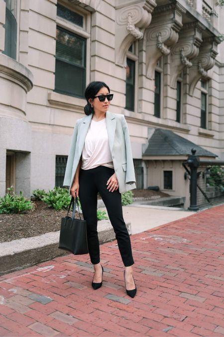 business casual office outfit // petite work style   •Express knit ankle pant xxs petite •Drapey cross front tee xxs •Oversized boyfriend blazer xxs petite •Similar sunglasses linked   #LTKworkwear http://liketk.it/3kxZD #liketkit @liketoknow.it