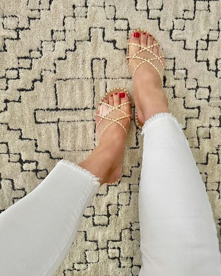 Love these neutral sandals! I went up half a size for extra length. I also got them in white.   @liketoknow.it http://liketk.it/3hnoL #liketkit   #LTKshoecrush #LTKunder50 #LTKSeasonal