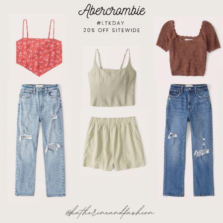 Abercrombie summer outfit inspo - scarf tops, crochet tops, high rise straight ankle jeans, matching sets    #LTKDay #LTKunder100 #LTKsalealert