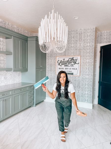 Laundry room is wallpapered !  Wallpaper from @coppercorners ans 10% o sitewide with code: REMINGTON10   White chandelier  Overalls linked wearing size small http://liketk.it/3f7R8 #liketkit @liketoknow.it #LTKsalealert #LTKhome @liketoknow.it.home
