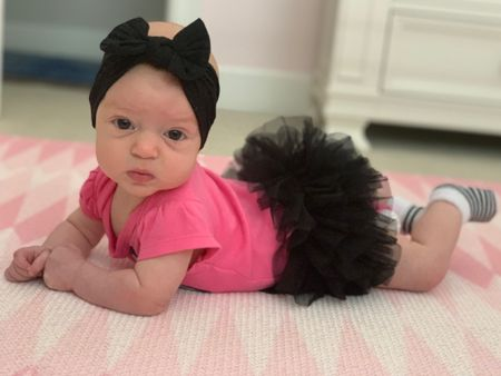 Tutu debut for tummy time 👯♀️ 🩰This adorable skirt comes in 3 colors + is under $20!  #LTKunder50 #LTKbaby