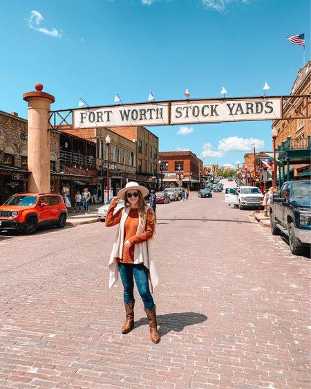 Cream Wide brim hat  American Eagle jeggings, fit tts. I get the short option! Frye western boots, so comfortable!  Burnt Orange sweater Cream sleeveless cardigan  http://liketk.it/3dPFB #liketkit @liketoknow.it #LTKshoecrush #LTKunder100 #LTKstyletip